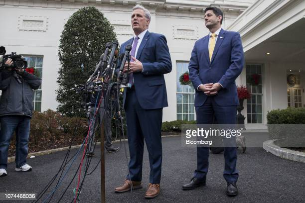 House Majority Leader Kevin McCarthy, a Republican from California, left, speaks to members of the media while House Speaker Paul Ryan, a Republican...