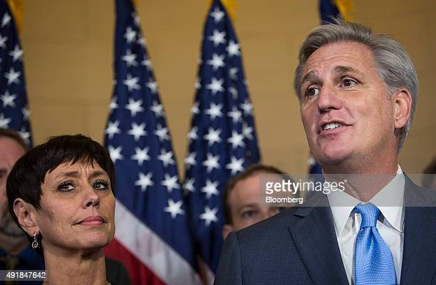 House Majority Leader Kevin McCarthy a Republican from California right stands with his wife Judy McCarthy while speaking to the media on Capitol...