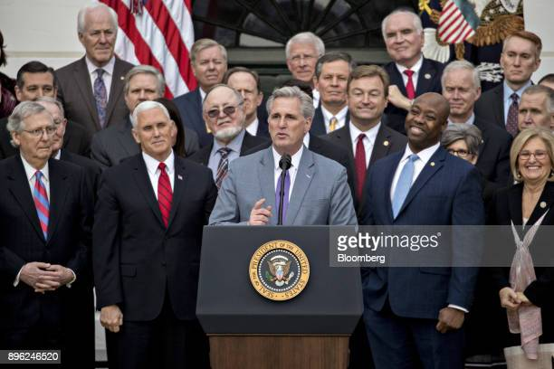 House Majority Leader Kevin McCarthy a Republican from California center speaks during a tax bill passage event with US President Donald Trump not...