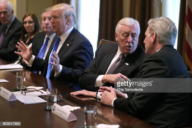 House Majority Leader Kevin McCarthy and House Minority Whip Steny Hoyer debate as US President Donald Trump presides over a meeting about...