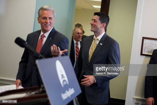 S House Majority Leader Kevin McCarthy and House Speaker Paul Ryan arrive for a news conference following a House Republican Conference meeting June...