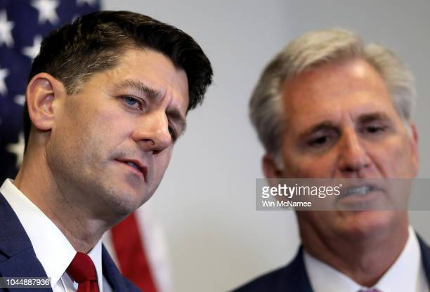 House Majority Leader Kevin McCarthy and Speaker of the House Paul Ryan confer during a press conference with members of the House Republican...