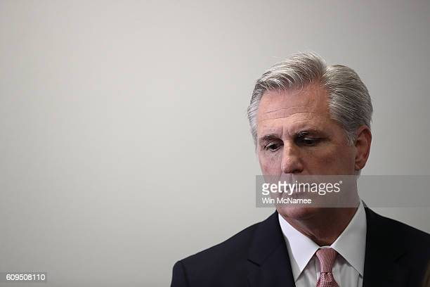 House Majority Leader Kevin McCarthy listens to questions at a press conference at the US Capitol on September 21 2016 in Washington DC McCarthy and...