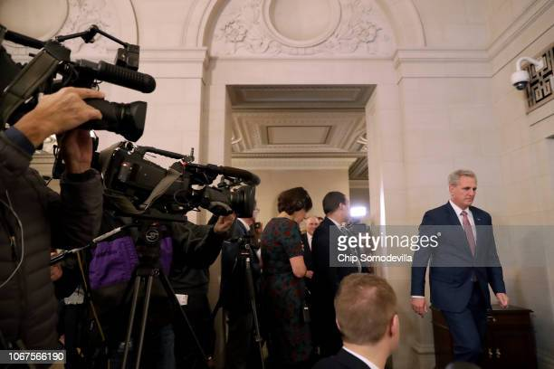 House Majority Leader Kevin McCarthy prepares to talk to reporters following his election to House minority leader for the next Congress in the...