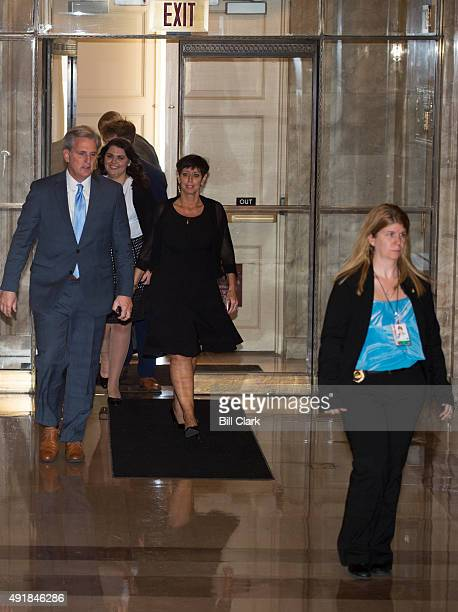 House Majority Leader Kevin McCarthy RCalif and his wife Judy return to his office suite in the US Capitol after bowing out of the race to replace...