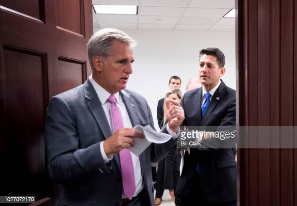 House Majority Leader Kevin McCarthy RCalif left and Speaker of the House Paul Ryan RWisc talk as they leave the House Republican Conference meeting...