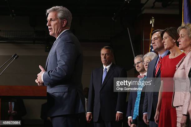 S House Majority Leader Kevin McCarthy speaks during a news conference with the newlyelected House GOP leadership team including House Speaker John...
