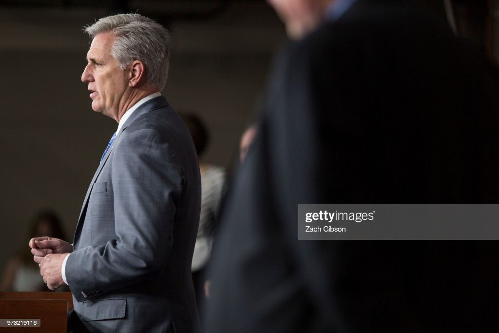 U.S. House Majority Leader Kevin McCarthy (R-CA) speaks during a news conference following a Republican Conference meeting on Capitol Hill on June 13, 2018 in Washington, DC.