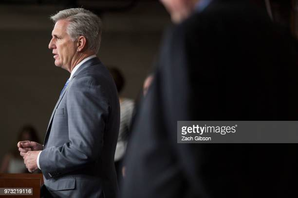S House Majority Leader Kevin McCarthy speaks during a news conference following a Republican Conference meeting on Capitol Hill on June 13 2018 in...