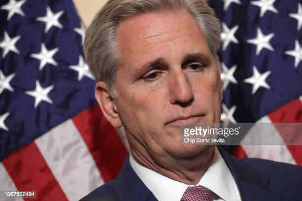 House Majority Leader Kevin McCarthy talks to reporters following his election to House minority leader for the next Congress in the Longworth House...