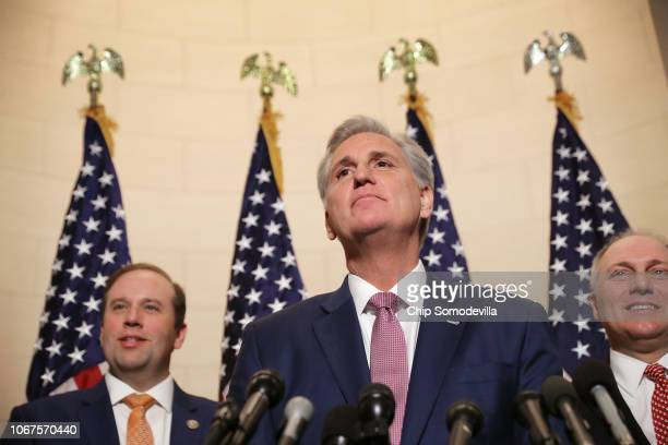 House Majority Leader Kevin McCarthy talks to reporters following his election to House minority leader for the next Congress with Rep Jason Smith...