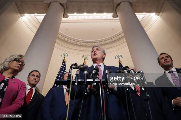 House Majority Leader Kevin McCarthy talks to reporters with Rep Liz Cheney Rep Gary Palmer and Rep Mark Walker following House GOP leadership...