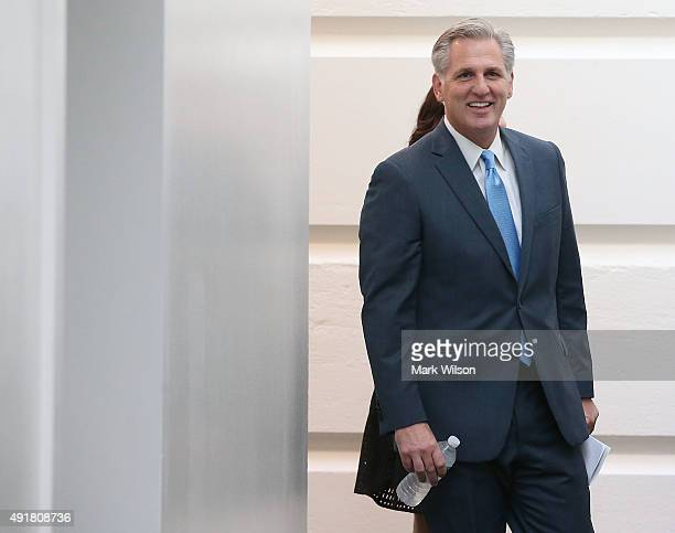 House Majority Leader Kevin McCarthy walks to a House GOP closed door conference at the US Capitol October 8 2015 in Washington DC Later today House...