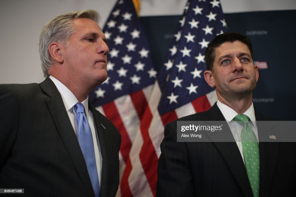 U.S. House Majority Leader Rep. Kevin McCarthy (R-CA) (L) and Speaker of the House Rep. Paul Ryan (R-WI) (R) listen during a news briefing September 13, 2017 at the Capitol in Washington, DC. House Republican had a Conference meeting earlier to discuss GOP agenda.