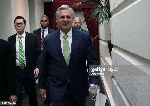 S House Majority Leader Rep Kevin McCarthy arrives at a House Republican Conference meeting at the Capitol December 19 2017 in Washington DC The...