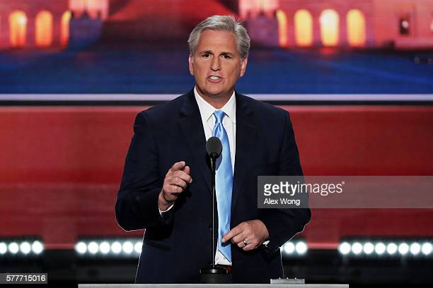 S House Majority Leader Rep Kevin McCarthy delivers a speech on the second day of the Republican National Convention on July 19 2016 at the Quicken...
