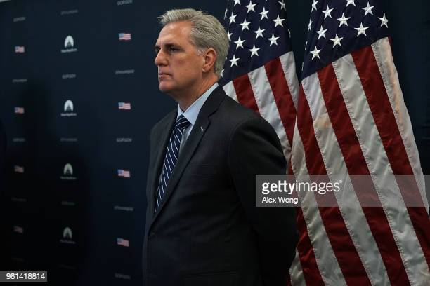S House Majority Leader Rep Kevin McCarthy listens during a news briefing after a House Republican Conference meeting May 22 2018 on Capitol Hill in...