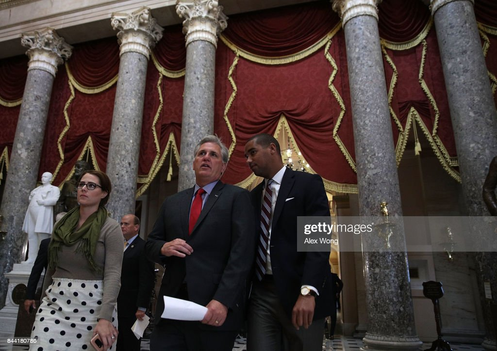 U.S. House Majority Leader Rep. Kevin McCarthy (R-CA) (C) passes through the Statuary Hall after a vote at the Capitol September 8, 2017 in Washington, DC. The House has passed a package with a vote of 316 - 90 to fund the disaster relief for Hurricane Harvey, raise the debt ceiling for three months and keep the government open through the end of December.