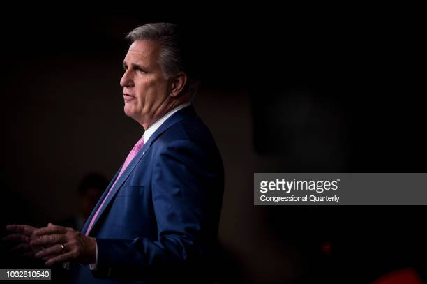 House Majority Leader Rep Kevin McCarthy RCalif speaks during a press conference with House Republican Leaders in the House Studio Thursday Sept 13...