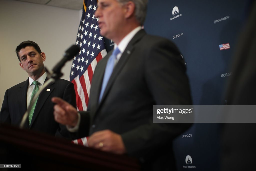 U.S. House Majority Leader Rep. Kevin McCarthy (R-CA) (R) speaks as Speaker of the House Rep. Paul Ryan (R-WI) (L) listens during a news briefing September 13, 2017 at the Capitol in Washington, DC. House Republican had a Conference meeting earlier to discuss GOP agenda.