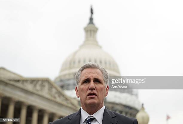 S House Majority Leader Rep Kevin McCarthy speaks during a news conference on opioid epidemic May 19 2016 on Capitol Hill in Washington DC...