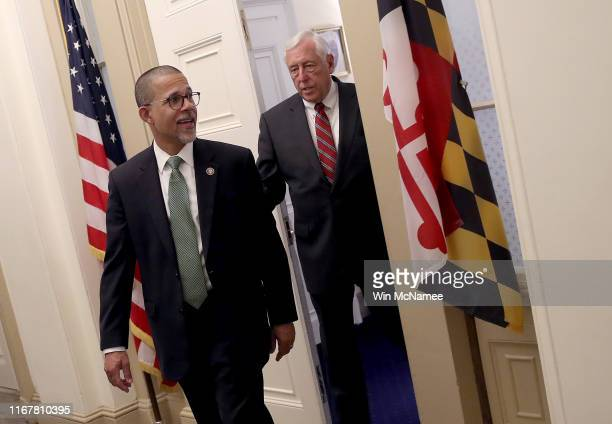 House Majority Leader Rep. Steny Hoyer and Rep. Anthony Brown walk from Hoyer's office to a a press conference calling for gun reform legislation at...
