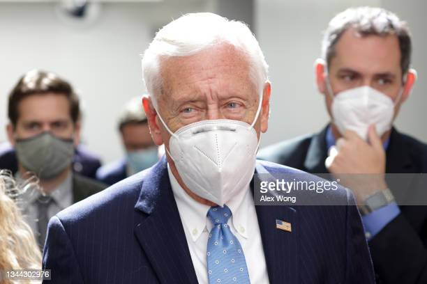 House Majority Leader Rep. Steny Hoyer leaves after a House Democrats Caucus meeting at the U.S. Capitol October 1, 2021 in Washington, DC. The House...