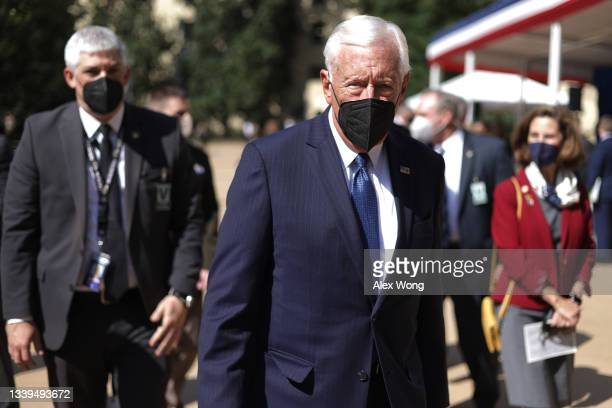 House Majority Leader Rep. Steny Hoyer leaves after a September 11 observance ceremony for Pentagon employees at the Pentagon September 10, 2021 in...