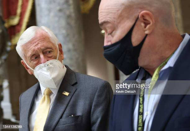 House Majority Leader Rep. Steny Hoyer leaves the House Chambers after passing a continuing resolution to fund the government, at the U.S. Capitol on...