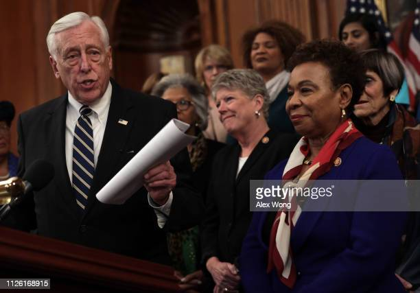 S House Majority Leader Rep Steny Hoyer speaks as Rep Barbara Lee listens during a news conference at the US Capitol January 30 2019 in Washington DC...
