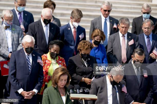 House Majority Leader Steny Hoyer, a Democrat from Maryland, from left, U.S. House Speaker Nancy Pelosi, a Democrat from California, and Senate...