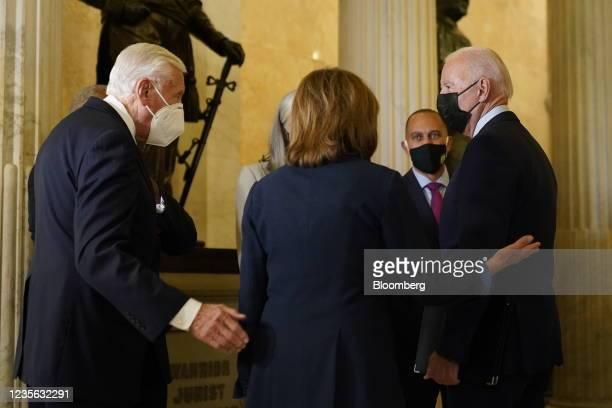 House Majority Leader Steny Hoyer, a Democrat from Maryland, left, greets U.S. President Joe Biden, right, and U.S. House Speaker Nancy Pelosi, a...