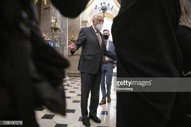 House Majority Leader Steny Hoyer, a Democrat from Maryland, speaks with members of the media in Statuary Hall in the U.S. Capitol in Washington,...
