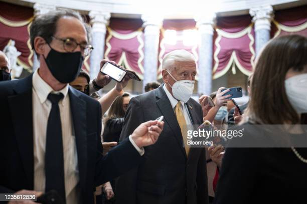 House Majority Leader Steny Hoyer, a Democrat from Maryland, speaks with members of the media in the U.S. Capitol in Washington, D.C., U.S., on...
