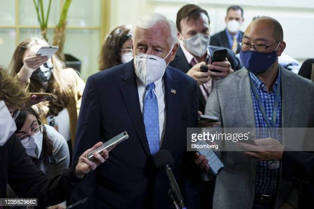 House Majority Leader Steny Hoyer, a Democrat from Maryland, speaks to members of the media at the U.S. Capitol in Washington, D.C., U.S., on Friday,...