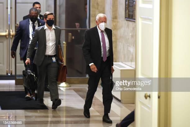 House Majority Leader Steny Hoyer arrives at the U.S. Capitol on September 27, 2021 in Washington, DC. Hoyer and members of the House Democratic...