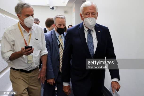 House Majority Leader Steny Hoyer departs a House Democratic whip meeting in the basement of the U.S. Capitol on September 29, 2021 in Washington,...