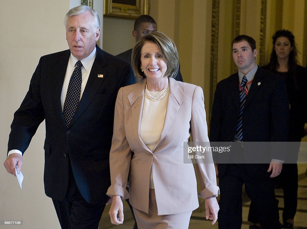 House Majority Leader Steny Hoyer, D-Md., and Speaker of the House Nancy Pelosi, D-Calif., leave the House floor after holding a vote on SCHIP legislation on Wednesday, Jan. 14, 2009.