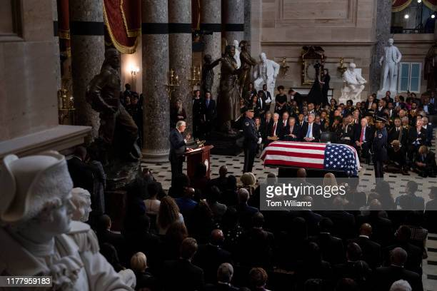 House Majority Leader Steny Hoyer DMd speaks during the memorial service for the late Rep Elijah Cummings DMd in the Capitols Statuary Hall on...