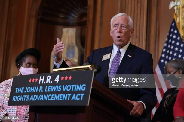 House Majority Leader Steny Hoyer gestures as he speaks at a press event following the House of Representatives vote on H.R. 4, the John Lewis Voting...
