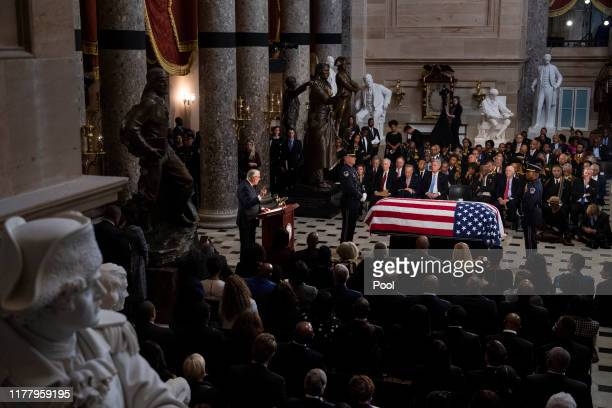 House Majority Leader Steny Hoyer speaks at a memorial service for the late Rep Elijah Cummings at the Statuary Hall of the US Capitol October 24...