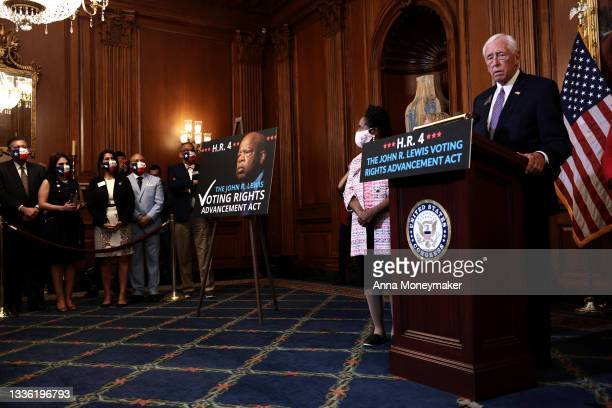 House Majority Leader Steny Hoyer speaks at a press event following the House of Representatives vote on H.R. 4, the John Lewis Voting Rights...