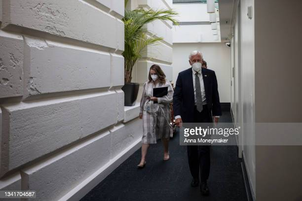 House Majority Leader Steny Hoyer speaks to reporters as he leaves a House Democratic Caucus meeting at the U.S. Capitol on September 21, 2021 in...