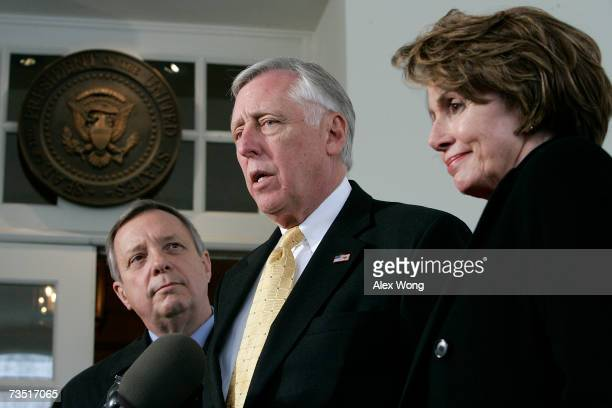 S House Majority Leader Steny Hoyer speaks to the media as US Speaker of the House Nancy Pelosi and Senate Majority Whip Dick Durbin look on after a...