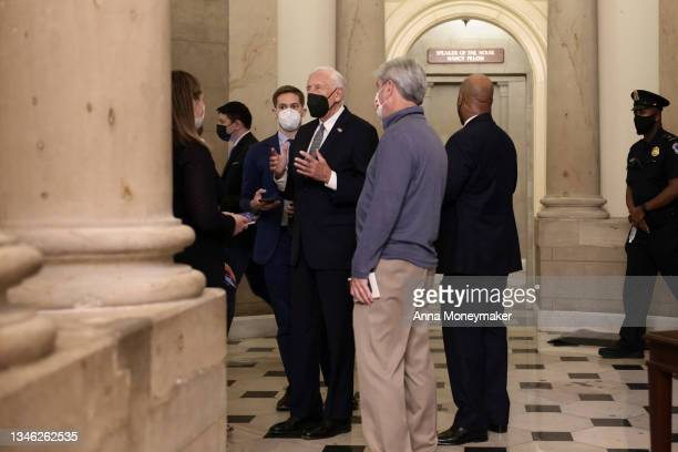 House Majority Leader Steny Hoyer speaks with reporters in the U.S. Capitol on October 12, 2021 in Washington, DC. The House of Representatives came...