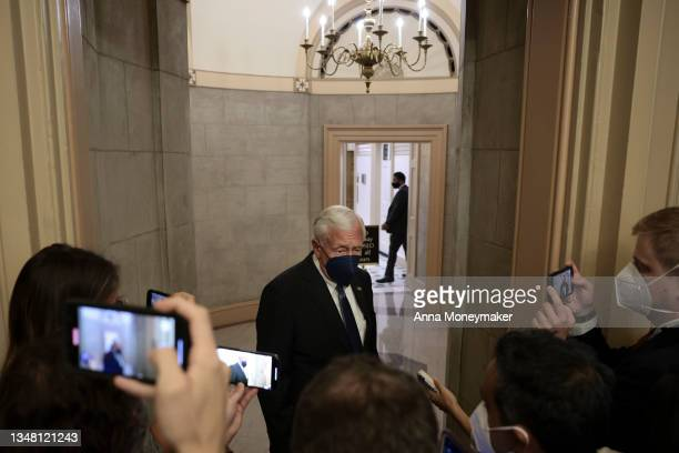 House Majority Leader Steny Hoyer speaks with reporters inside the U.S. Capitol Building on October 22, 2021 in Washington, DC. Following a breakfast...