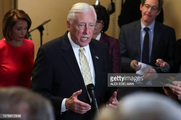 House Majority Leader Steny Hoyer speaks with reporters outside the House Chamber on Capitol Hill in Washington DC on January 3 2019