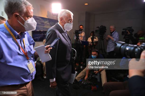 House Majority Leader Steny Hoyer talks to reporters as he departs the House Democratic caucus meeting at the U.S. Capitol on September 28, 2021 in...