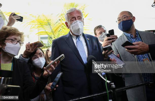 House Majority Leader Steny Hoyer talks with members of the media as he departs a Democratic caucus meeting at the U.S. Capitol on October 01, 2021...