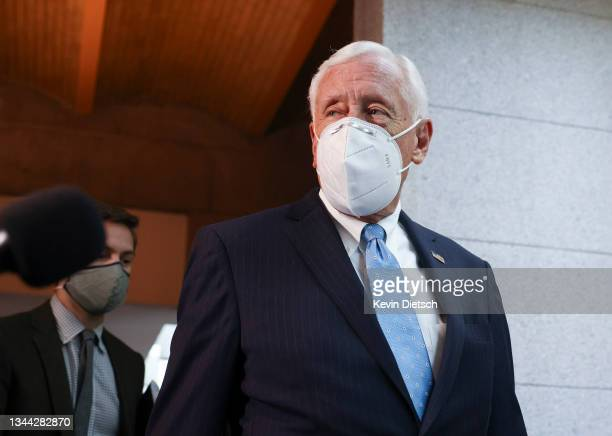 House Majority Leader Steny Hoyer walks to a Democratic caucus meeting at the U.S. Capitol on October 01, 2021 in Washington, DC. The House Democrats...